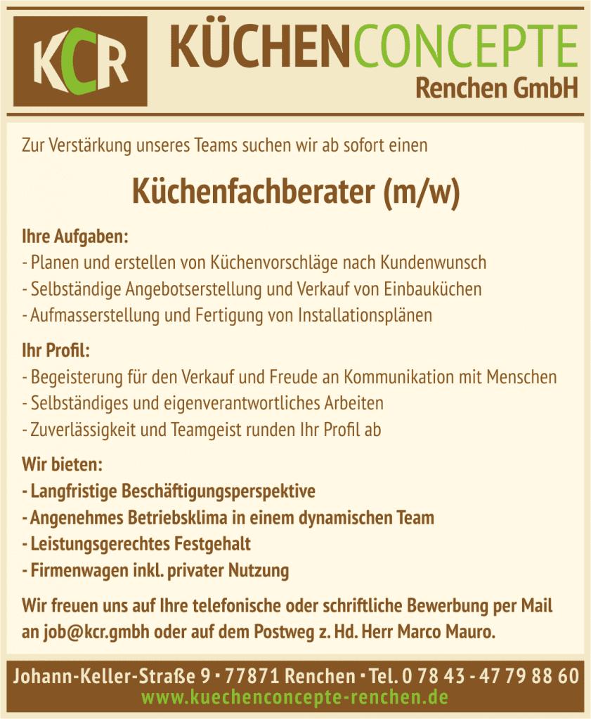 Küchenverkäufer jobs  Jobs - KCR - Küchenconcepte Renchen GmbH